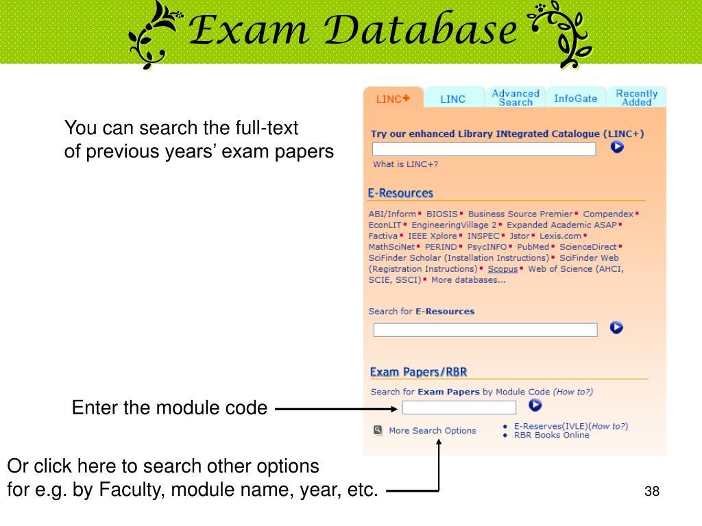 Exam Database