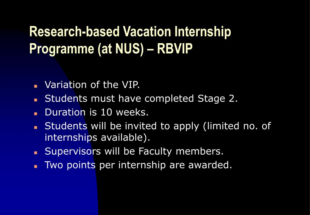 Research-based Vacation Internship Programme (at NUS) – RBVIP