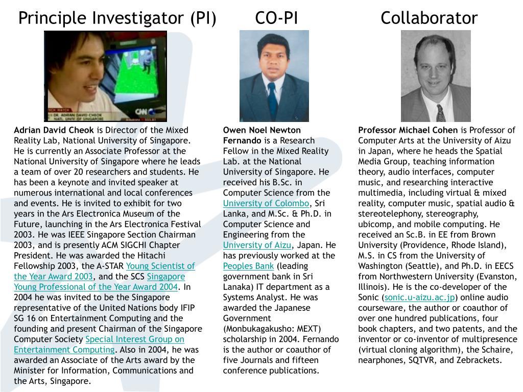 Principle Investigator (PI)