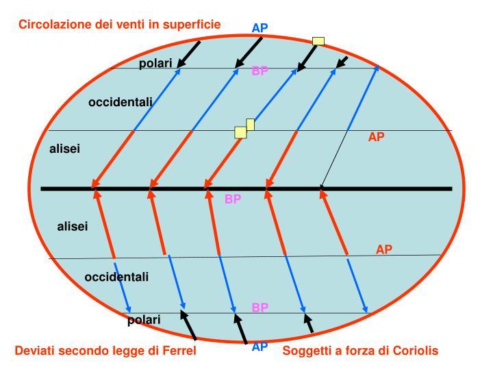 Circolazione dei venti in superficie