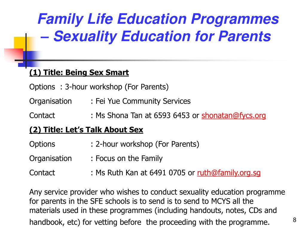 Family Life Education Programmes – Sexuality Education for Parents