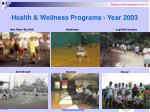 health wellness programs year 2003