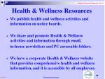 health wellness resources