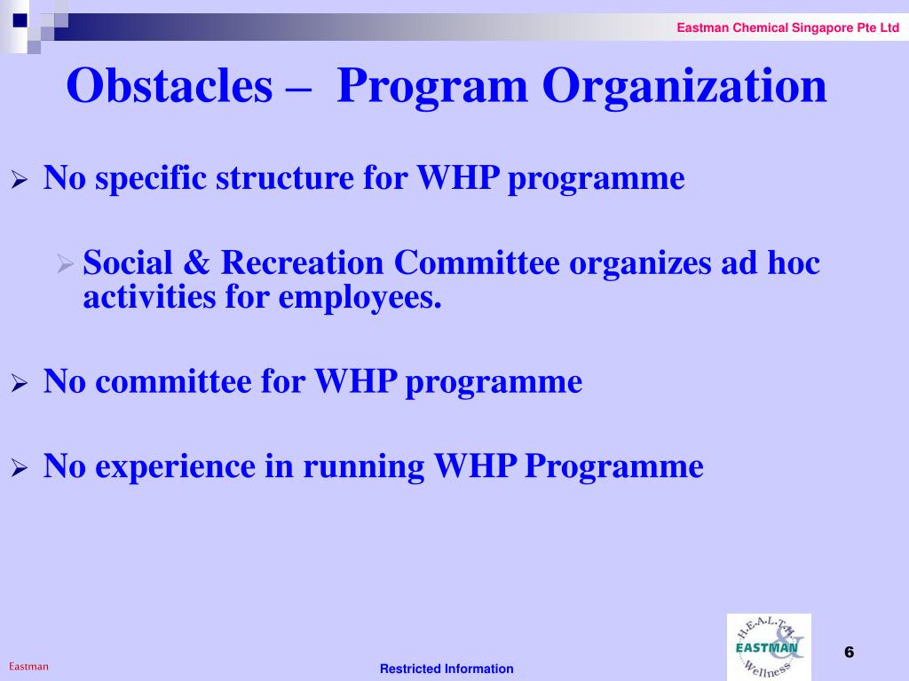 Obstacles –  Program Organization