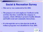 social recreation survey