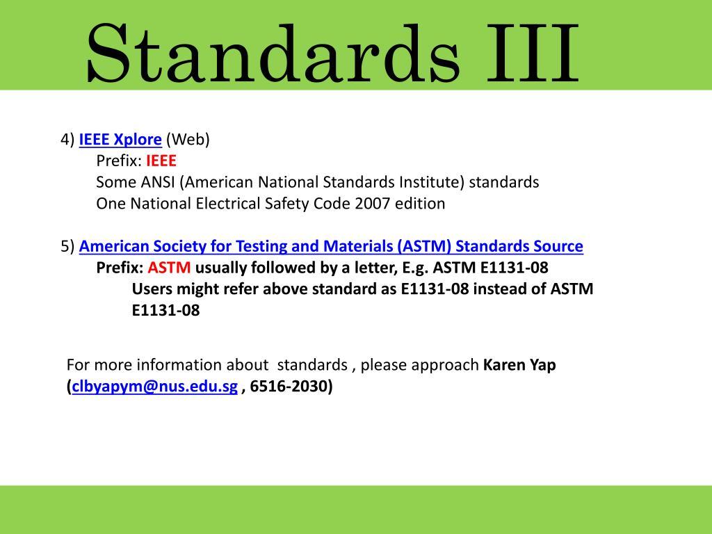 Standards III