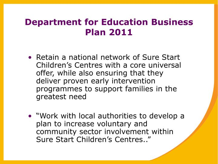 Department for Education Business Plan 2011