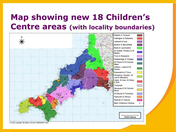 Map showing new 18 Children's Centre areas