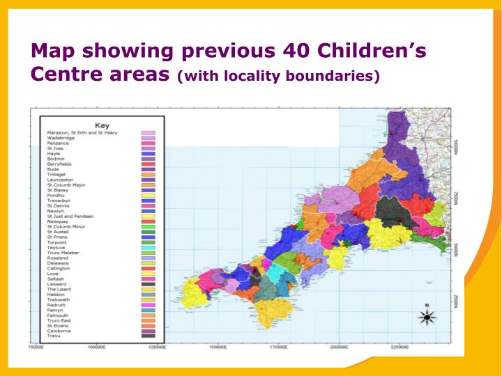 Map showing previous 40 Children's Centre areas