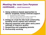 meeting the new core purpose continued draft framework