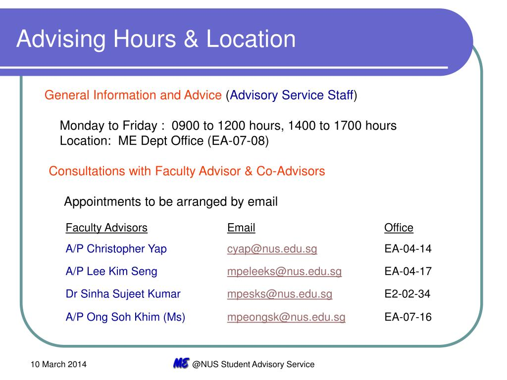 Advising Hours & Location