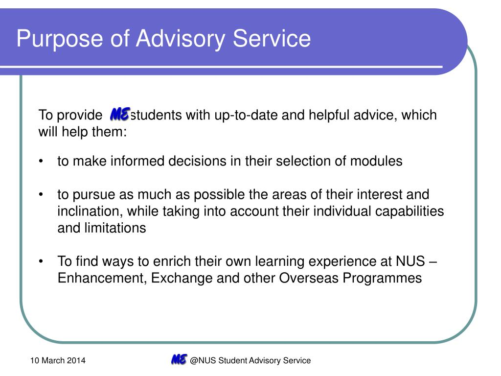 Purpose of Advisory Service