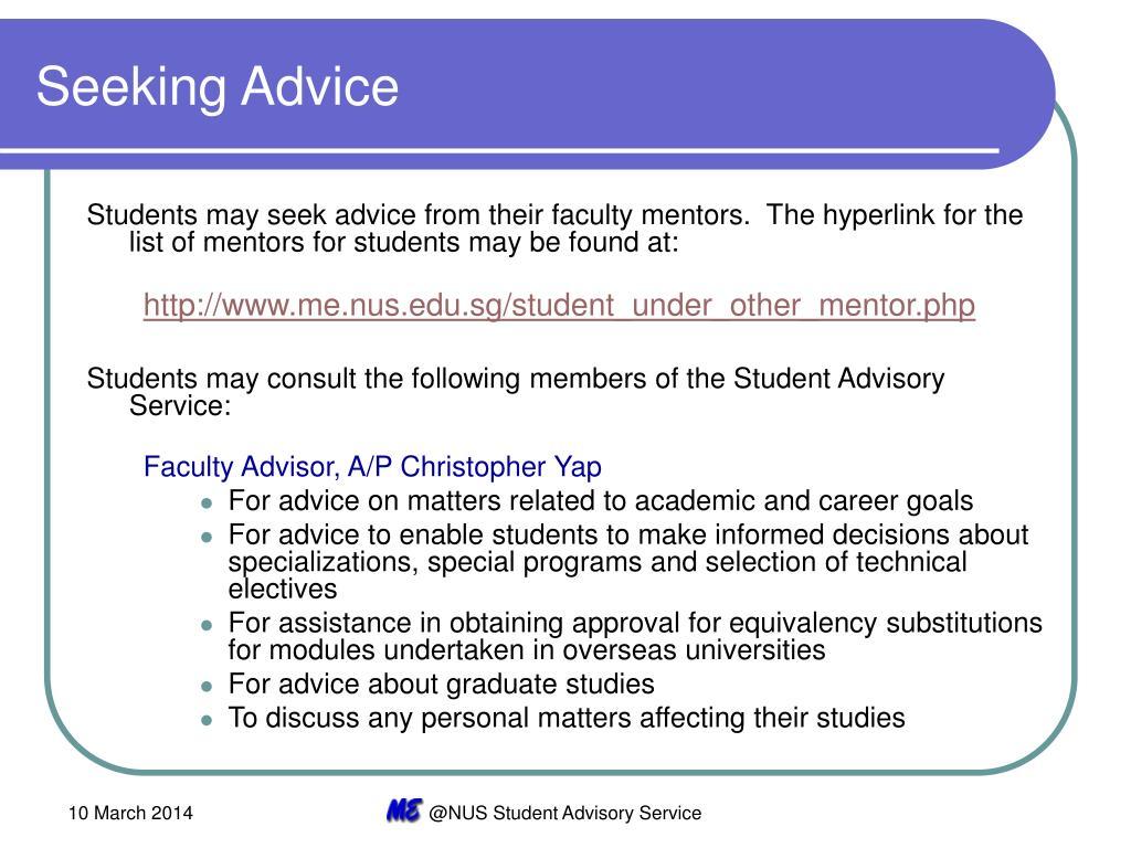 Seeking Advice