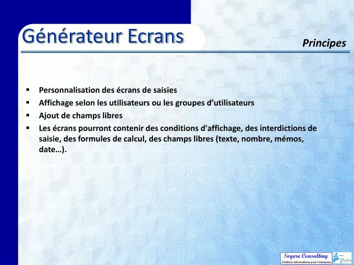Générateur Ecrans