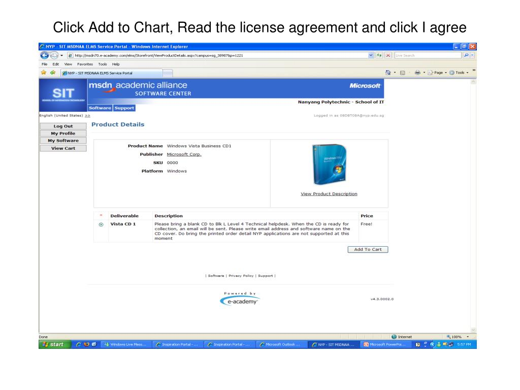 Click Add to Chart, Read the license agreement and click I agree