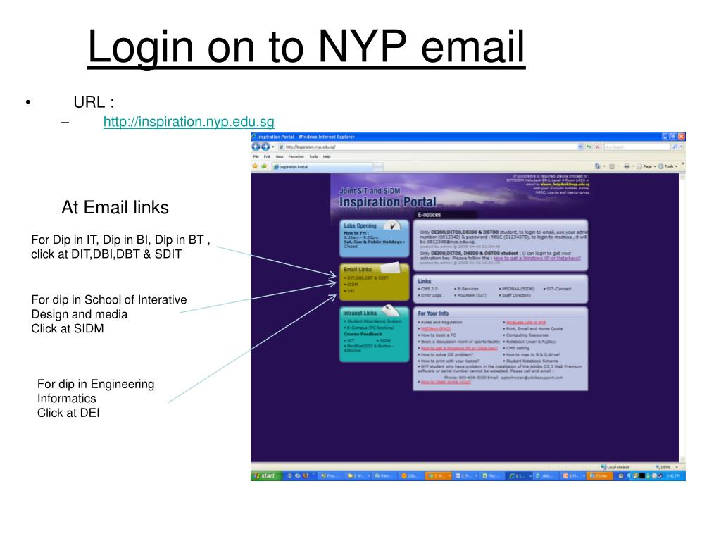 Login on to NYP email