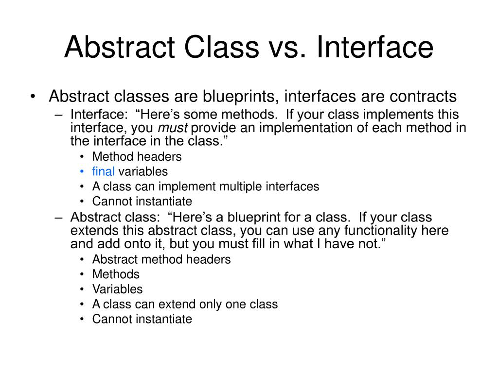 Abstract Class vs. Interface