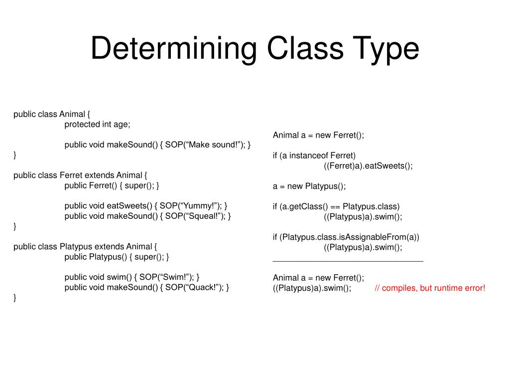 Determining Class Type