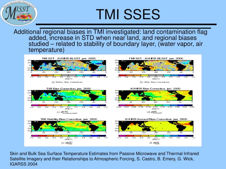 Skin and Bulk Sea Surface Temperature Estimates from Passive Microwave and Thermal Infrared Satellite Imagery and their Relationships to Atmospheric Forcing, S. Castro, B. Emery, G. Wick, IGARSS 2004