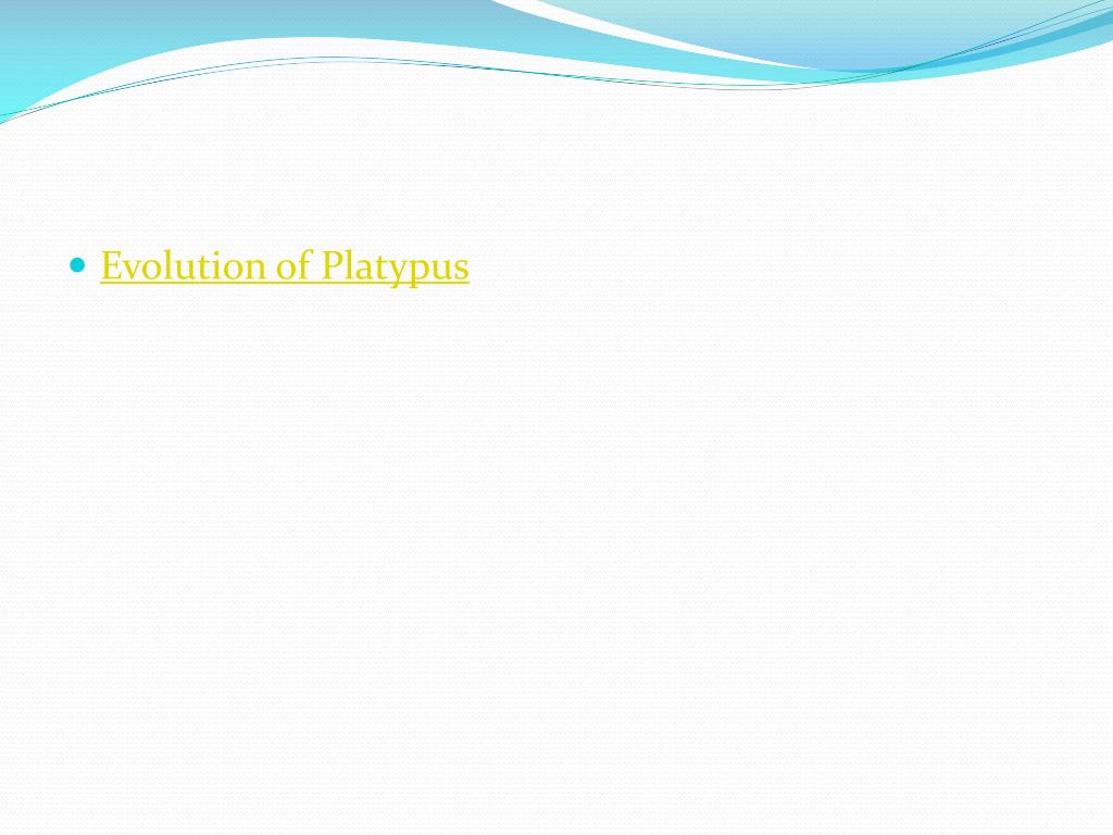 Evolution of Platypus