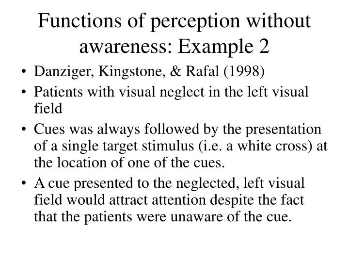 Functions of perception without awareness: Example 2