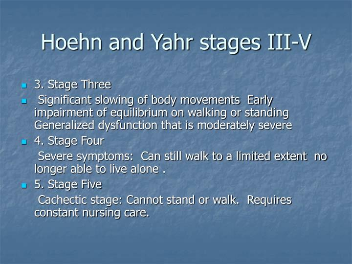 Hoehn and Yahr stages III-V