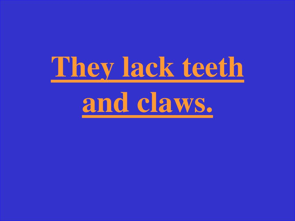 They lack teeth and claws.