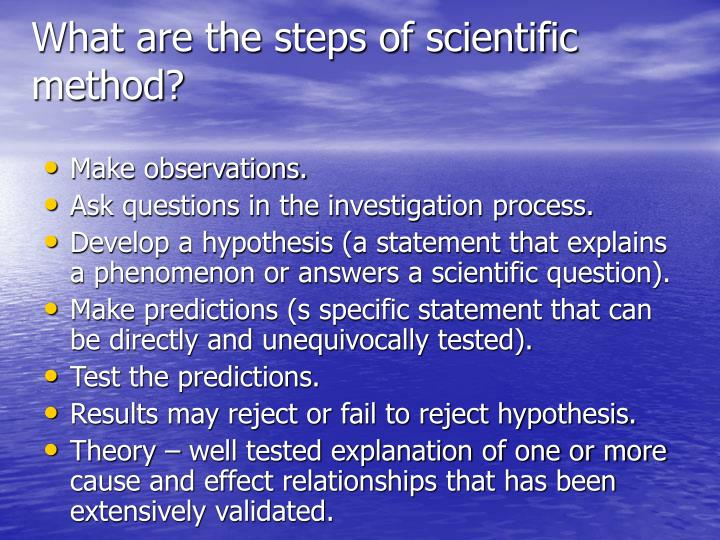 What are the steps of scientific method?