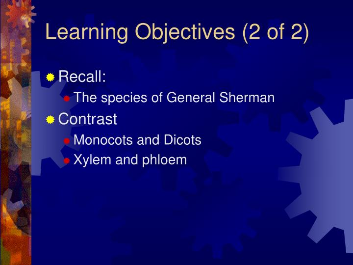 Learning objectives 2 of 2