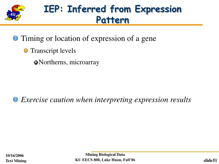 IEP: Inferred from Expression Pattern