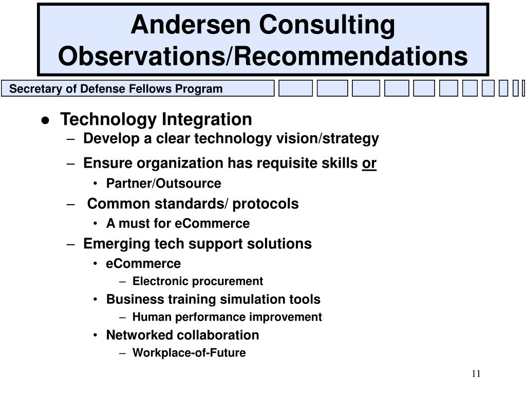 Andersen Consulting Observations/Recommendations