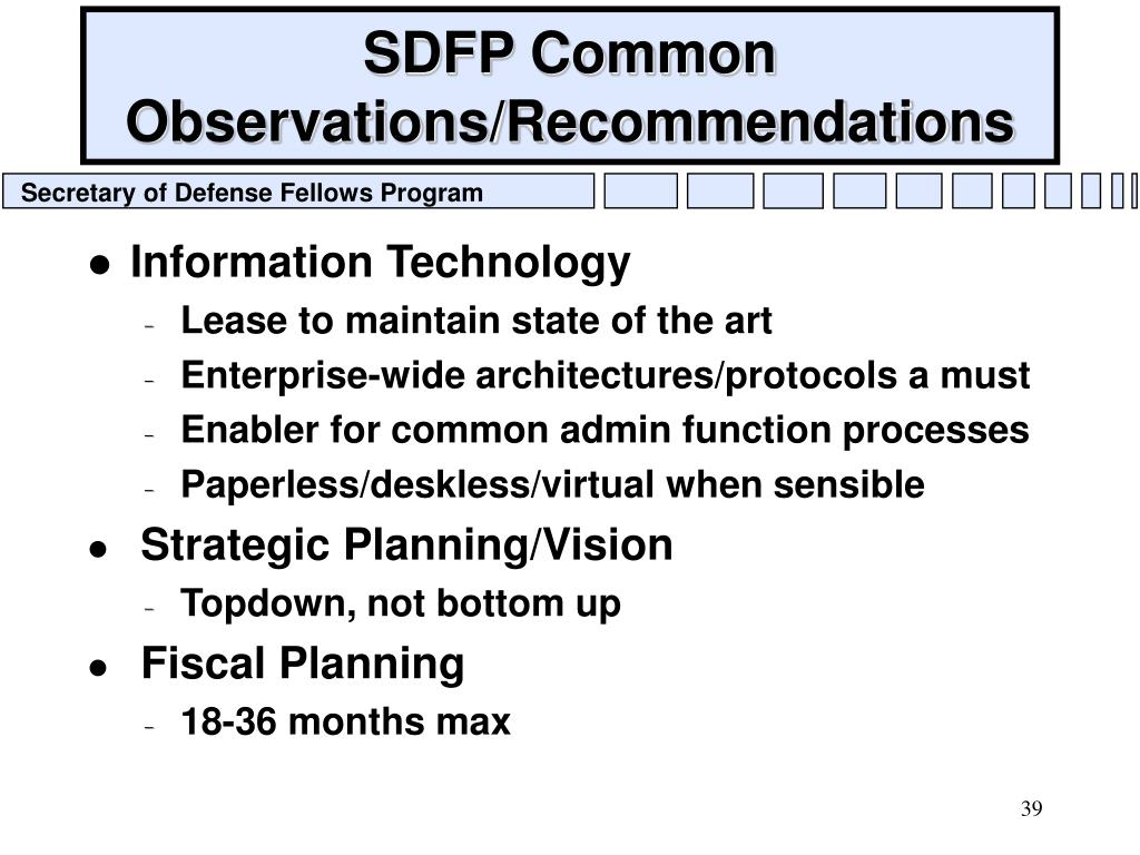 SDFP Common Observations/Recommendations
