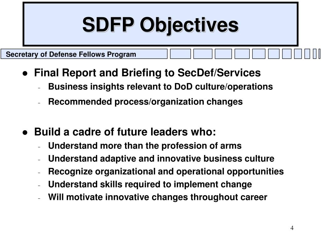 SDFP Objectives