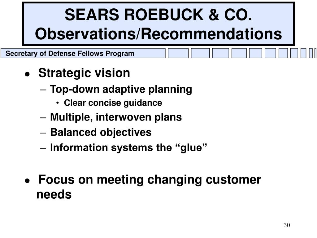 SEARS ROEBUCK & CO. Observations/Recommendations