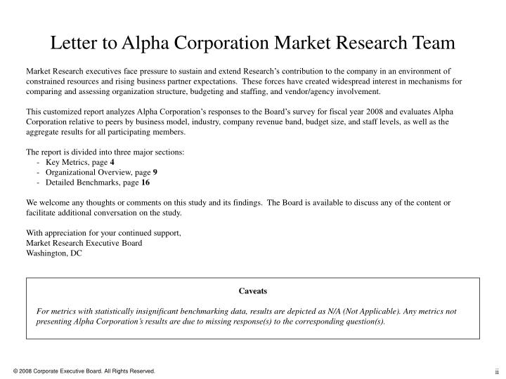 Letter to Alpha Corporation Market Research Team