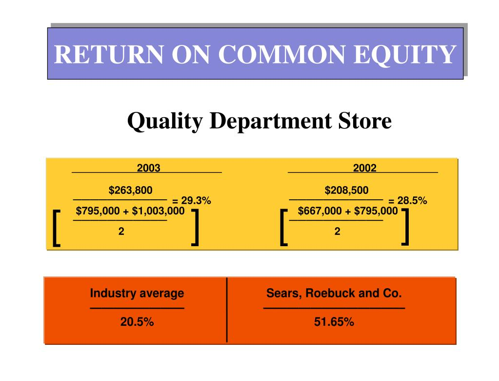 RETURN ON COMMON EQUITY