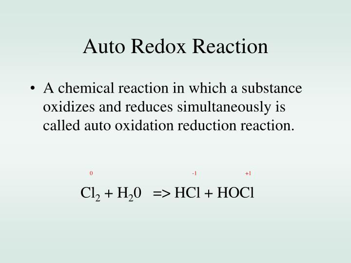 Auto Redox Reaction