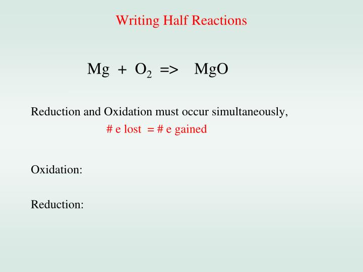 Writing Half Reactions