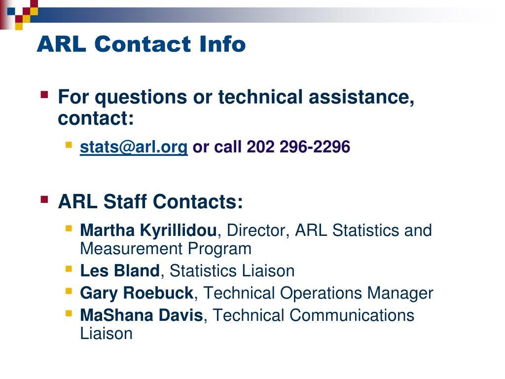 ARL Contact Info