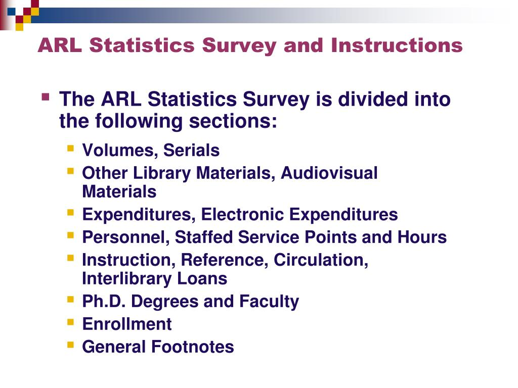 ARL Statistics Survey and Instructions