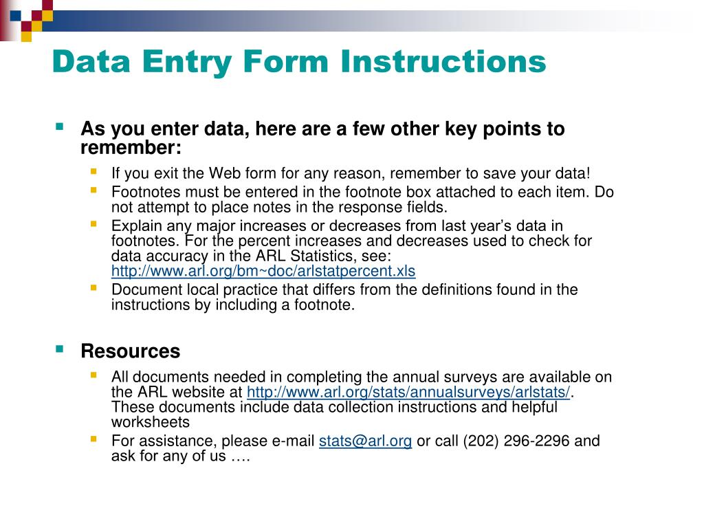 Data Entry Form Instructions