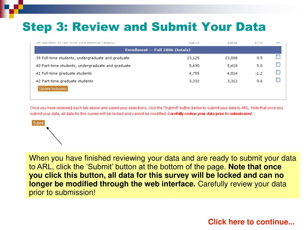 When you have finished reviewing your data and are ready to submit your data to ARL, click the 'Submit' button at the bottom of the page.