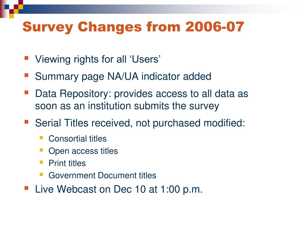 Survey Changes from 2006-07