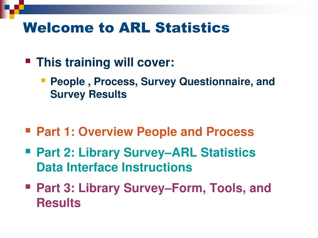 Welcome to ARL Statistics
