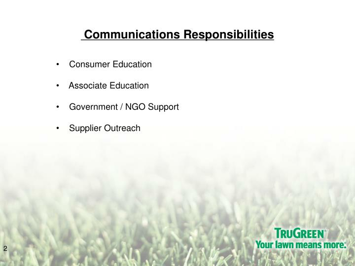 Communications responsibilities