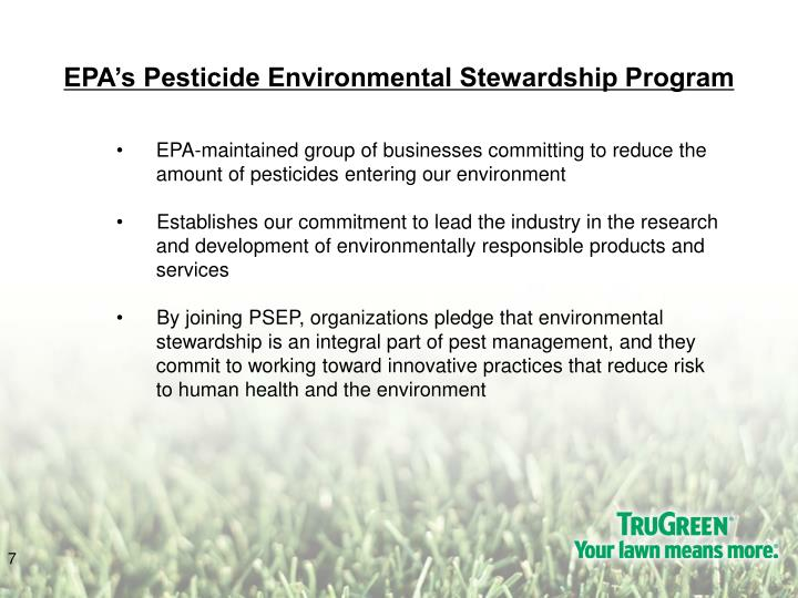 EPA's Pesticide Environmental Stewardship Program