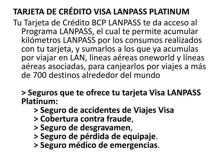 TARJETA DE CRDITO VISA LANPASS PLATINUM