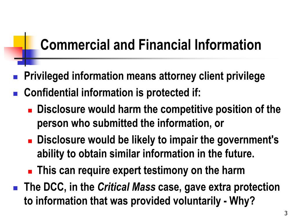 Commercial and Financial Information