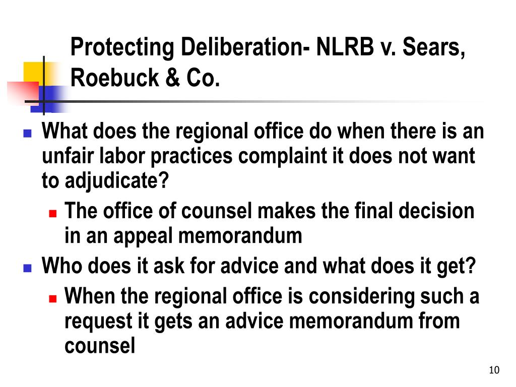 Protecting Deliberation- NLRB v. Sears, Roebuck & Co.