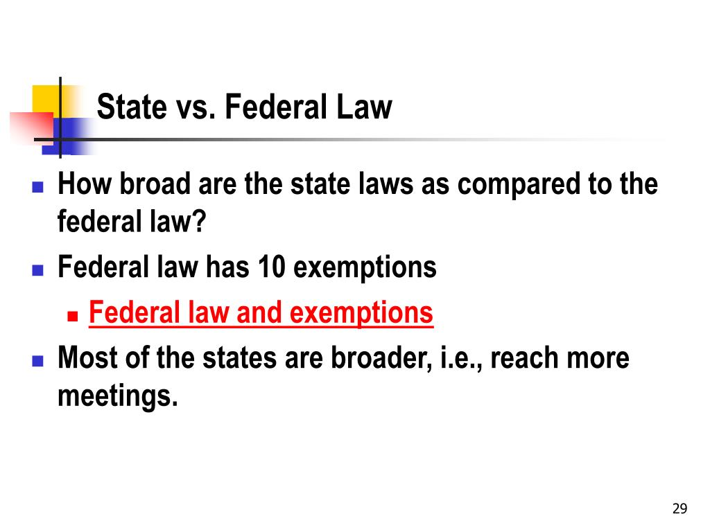 State vs. Federal Law